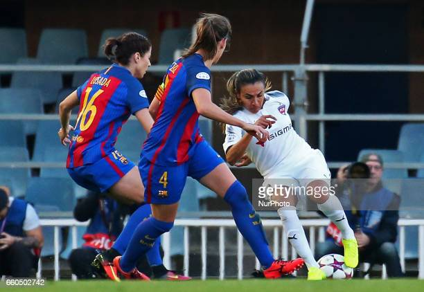 Marta Vieira da Silva Marta Unzue and Vicky Losada during the match between FC Barcelona and Rosengard corresponding to the 1/4 final of the UEFA...