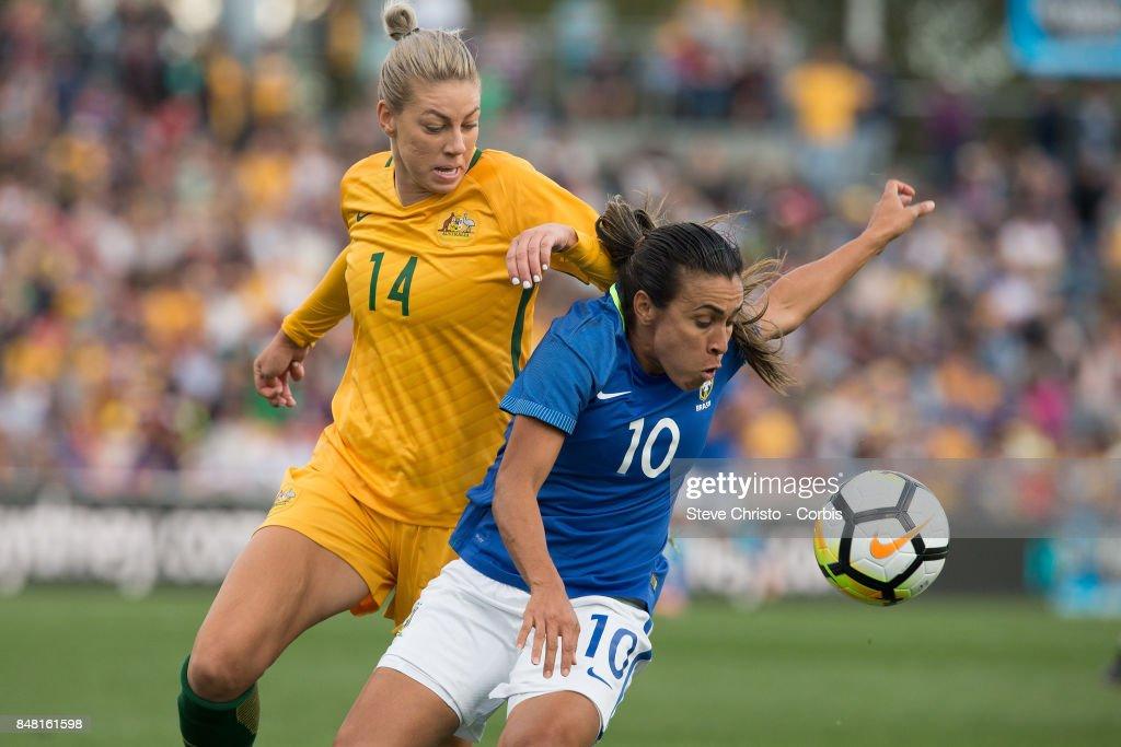 Marta Vieira da Silva of Brazil is tackled by Australia's Alanna Kennedy during the women's international match between the Australian Matildas and Brazil at Pepper Stadium on September 16, 2017 in Sydney, Australia.