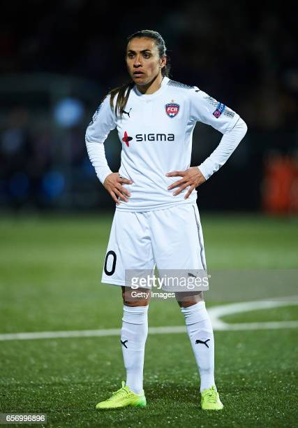 Marta Vieira da Silva of FC Rosengard looks on during the UEFA Women's Champions League match between Rosengard and FC Barcelona at Malmo...