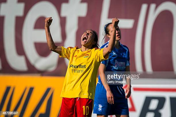 Marta Vieira Da Silva of Tyreso FF celebrates scoring a goal to make it 30 during the UEFA Women's Champions League SemiFinal Second Leg between...