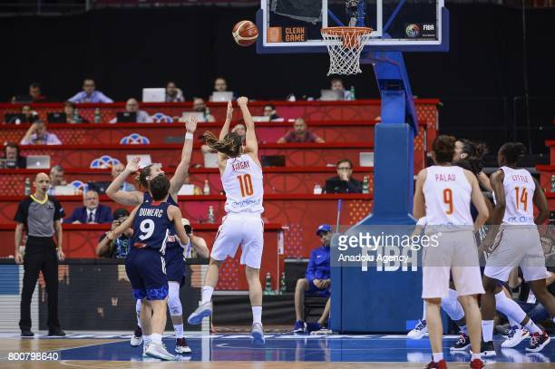Marta Zargay of Spain in action against Celine Dumerc of France during the 2017 FIBA EuroBasket Women gold medal match between Spain and France at...