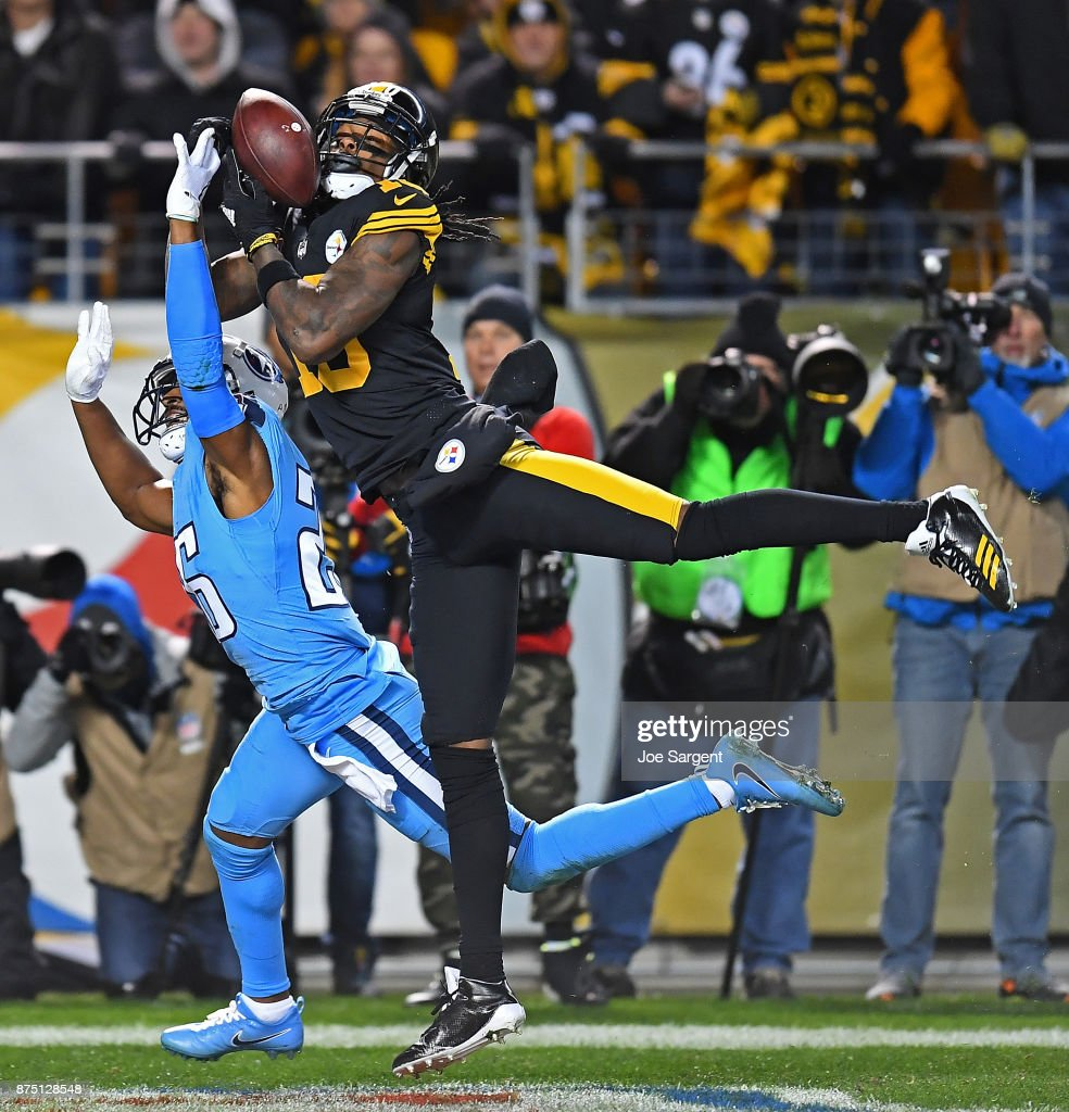 Martavis Bryant #10 of the Pittsburgh Steelers cannot come up with a catch while being defended by Logan Ryan #26 of the Tennessee Titans in the first half during the game at Heinz Field on November 16, 2017 in Pittsburgh, Pennsylvania.