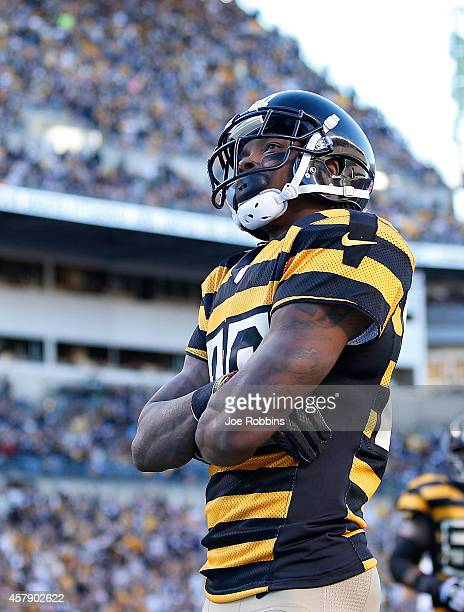 Martavis Bryant of the Pittsburgh Steelers celebrates his second quarter touchdown against the Indianapolis Colts at Heinz Field on October 26 2014...