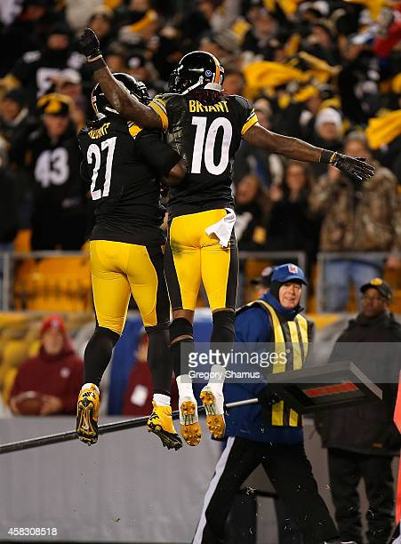 Martavis Bryant of the Pittsburgh Steelers celebrates his second quarter touchdown with LeGarrette Blount against the Baltimore Ravens at Heinz Field...