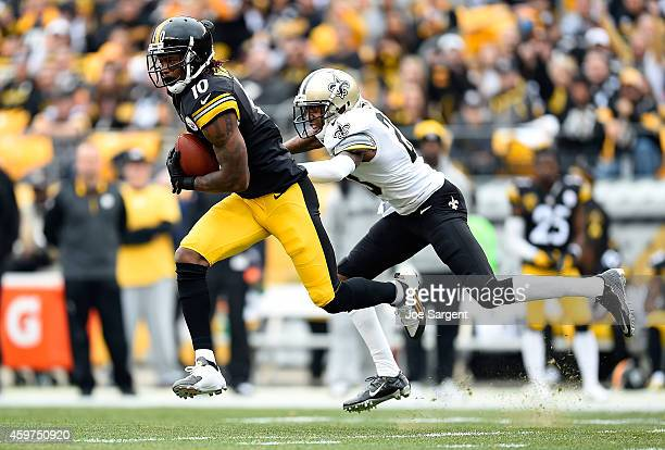 Martavis Bryant of the Pittsburgh Steelers makes a catch in front of Keenan Lewis of the New Orleans Saints during the first quarter at Heinz Field...