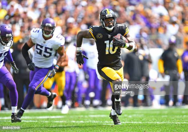 Martavis Bryant of the Pittsburgh Steelers runs upfield after a catch for a 27 yard touchdown reception in the first quarter during the game against...