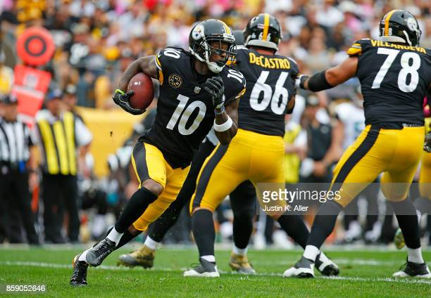 Martavis Bryant of the Pittsburgh Steelers runs upfield after a catch in the first quarter during the game against the Jacksonville Jaguars at Heinz...