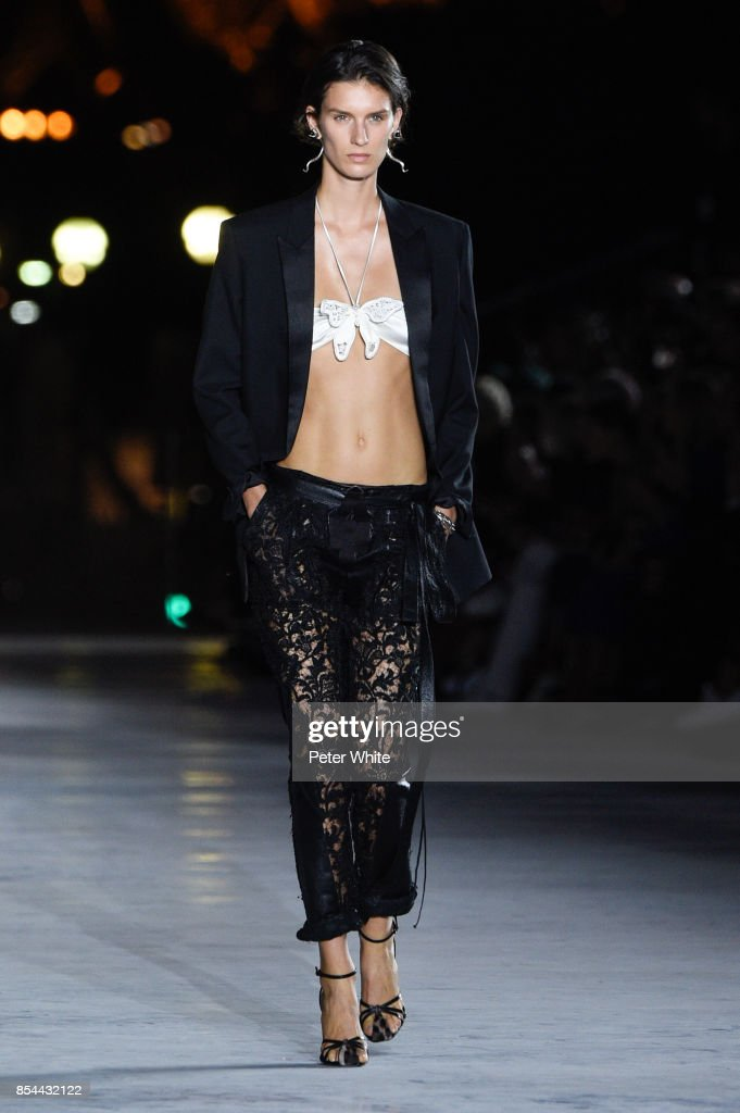 Marte Mei van Haaster walks the runway during the Saint Laurent show as part of the Paris Fashion Week Womenswear Spring/Summer 2018 on September 26, 2017 in Paris, France.