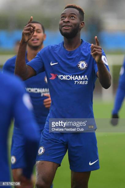 Martell TaylorCrossdale of Chelsea celebrates scoring his second goal during the Premier league 2 match between Tottenham Hotspur and Chelsea on...