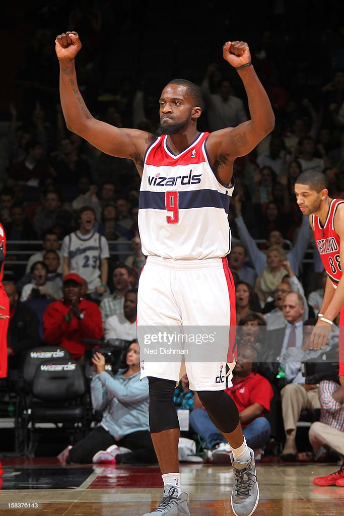 <a gi-track='captionPersonalityLinkClicked' href=/galleries/search?phrase=Martell+Webster&family=editorial&specificpeople=601785 ng-click='$event.stopPropagation()'>Martell Webster</a> #9 of the Washington Wizards celebrates a play against the Portland Trail Blazers at the Verizon Center on November 28, 2012 in Washington, DC.