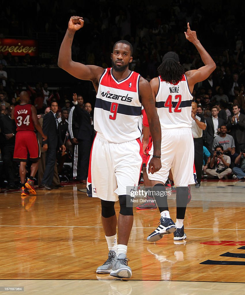 Martell Webster #9 of the Washington Wizards celebrates a win against the Miami Heat after the game at the Verizon Center on December 4, 2012 in Washington, DC.