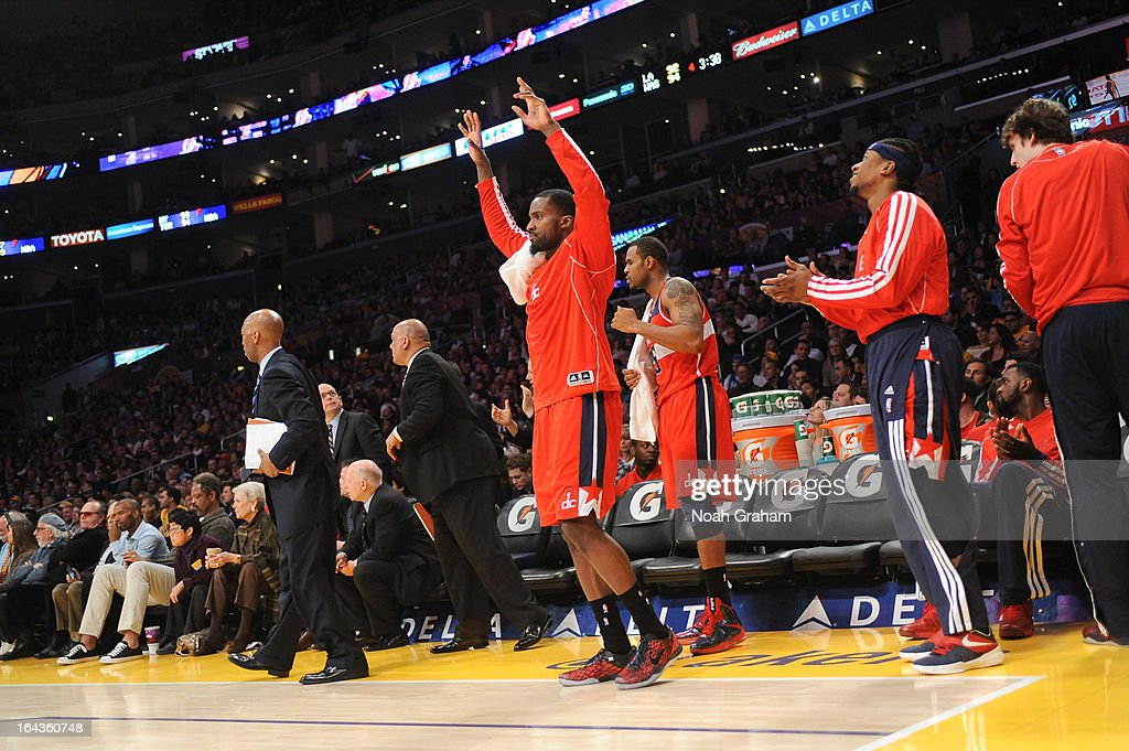 Martell Webster #9 of the Washington Wizards celebrates from the bench during a game against the Los Angeles Lakers at Staples Center on March 22, 2013 in Los Angeles, California.