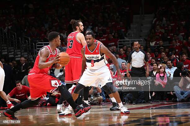 Martell Webster of the Washington Wizards defends against Jimmy Butler of the Chicago Bulls in Game Three of the Eastern Conference Quarterfinals...