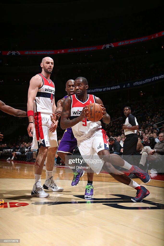 <a gi-track='captionPersonalityLinkClicked' href=/galleries/search?phrase=Martell+Webster&family=editorial&specificpeople=601785 ng-click='$event.stopPropagation()'>Martell Webster</a> #9 of the Washington Wizards dribbles up the court against the Los Angeles Lakers during the game at the Verizon Center on November 26, 2013 in Washington, DC.