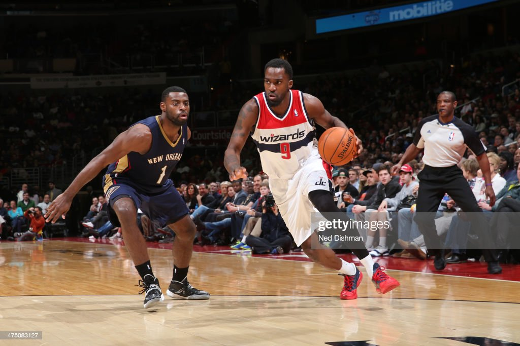 <a gi-track='captionPersonalityLinkClicked' href=/galleries/search?phrase=Martell+Webster&family=editorial&specificpeople=601785 ng-click='$event.stopPropagation()'>Martell Webster</a> #9 of the Washington Wizards drives against the New Orleans Pelicans at the Verizon Center on February 22, 2014 in Washington, DC.