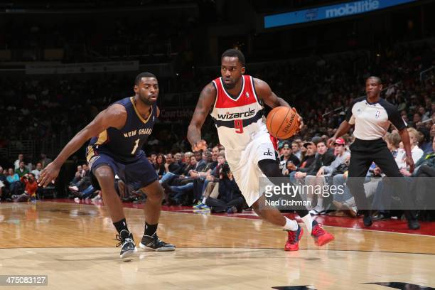 Martell Webster of the Washington Wizards drives against the New Orleans Pelicans at the Verizon Center on February 22 2014 in Washington DC NOTE TO...