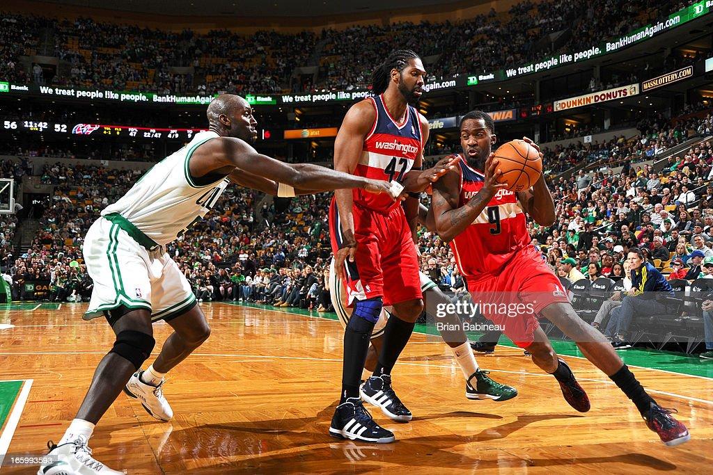 Martell Webster #9 of the Washington Wizards drives the ball against Kevin Garnett #5 of the Boston Celtics on April 7, 2013 at the TD Garden in Boston, Massachusetts.