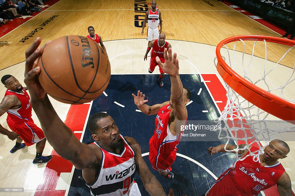 <a gi-track='captionPersonalityLinkClicked' href=/galleries/search?phrase=Martell+Webster&family=editorial&specificpeople=601785 ng-click='$event.stopPropagation()'>Martell Webster</a> #9 of the Washington Wizards drives to the basket against the Los Angeles Clippers on February 4, 2013 at the Verizon Center in Washington, DC.