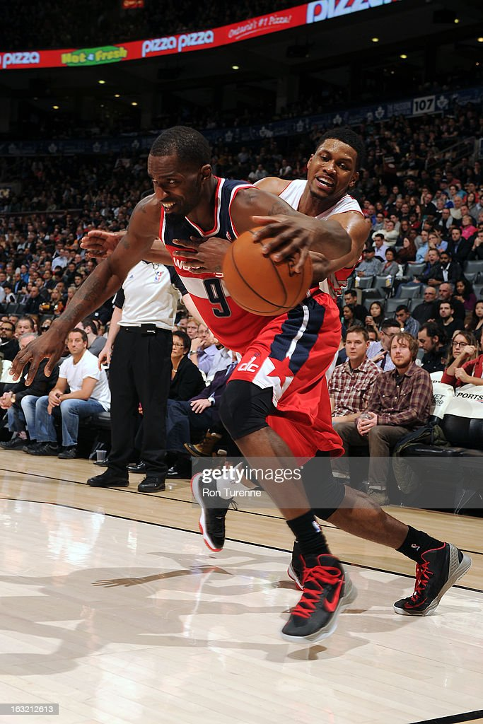 <a gi-track='captionPersonalityLinkClicked' href=/galleries/search?phrase=Martell+Webster&family=editorial&specificpeople=601785 ng-click='$event.stopPropagation()'>Martell Webster</a> #9 of the Washington Wizards drives to the basket against the Toronto Raptors son February 25, 2013 at the Air Canada Centre in Toronto, Ontario, Canada.