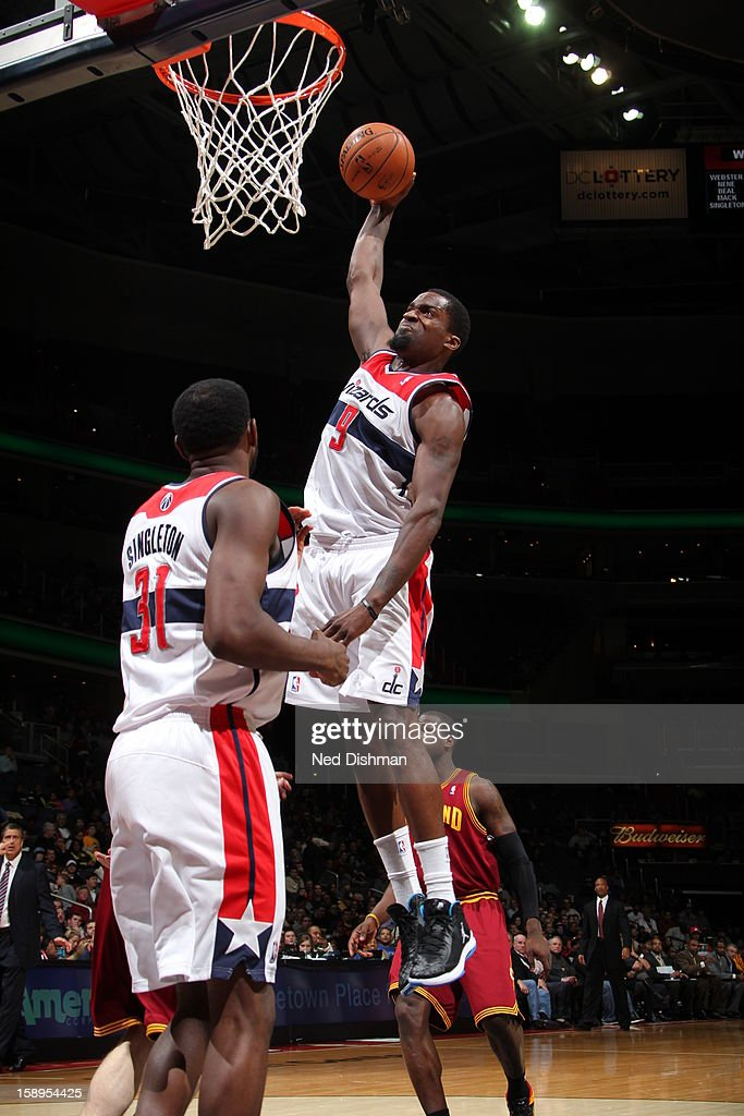 <a gi-track='captionPersonalityLinkClicked' href=/galleries/search?phrase=Martell+Webster&family=editorial&specificpeople=601785 ng-click='$event.stopPropagation()'>Martell Webster</a> #9 of the Washington Wizards dunks the ball against the Cleveland Cavaliers at the Verizon Center on December 26, 2012 in Washington, DC.