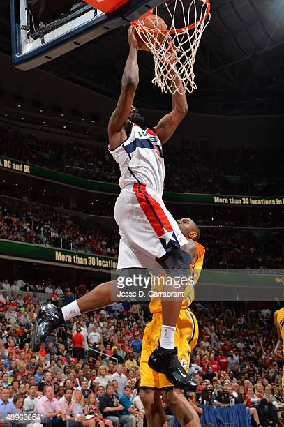 Martell Webster of the Washington Wizards dunks the ball against the Indiana Pacers during Game Four of the Western Conference Semifinals on May 11...