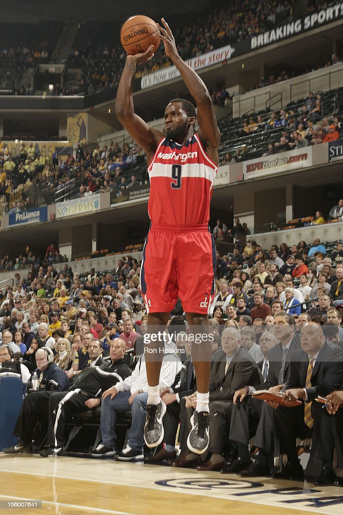 <a gi-track='captionPersonalityLinkClicked' href=/galleries/search?phrase=Martell+Webster&family=editorial&specificpeople=601785 ng-click='$event.stopPropagation()'>Martell Webster</a> #9 of the Washington Wizards goes for a jump shot during the game between the Indiana Pacers and the Washington Wizards on November 10, 2012 at Bankers Life Fieldhouse in Indianapolis, Indiana.