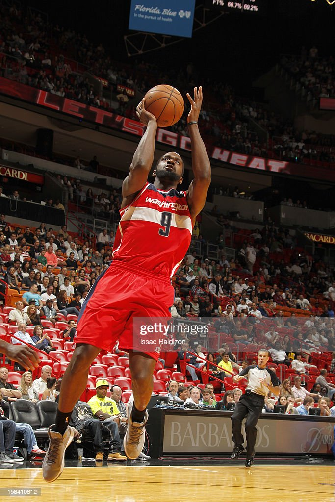 Martell Webster #9 of the Washington Wizards goes to the basket during a game between the Washington Wizards and the Miami Heat on December 15, 2012 at American Airlines Arena in Miami, Florida.