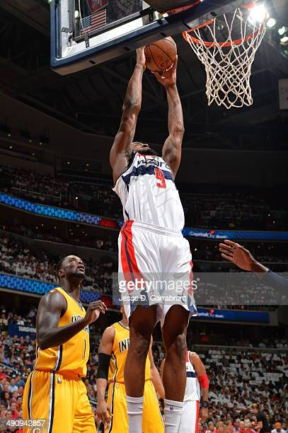 Martell Webster of the Washington Wizards goes up for a dunk against the Indiana Pacers in Game 6 of the Eastern Conference Semifinals during the...