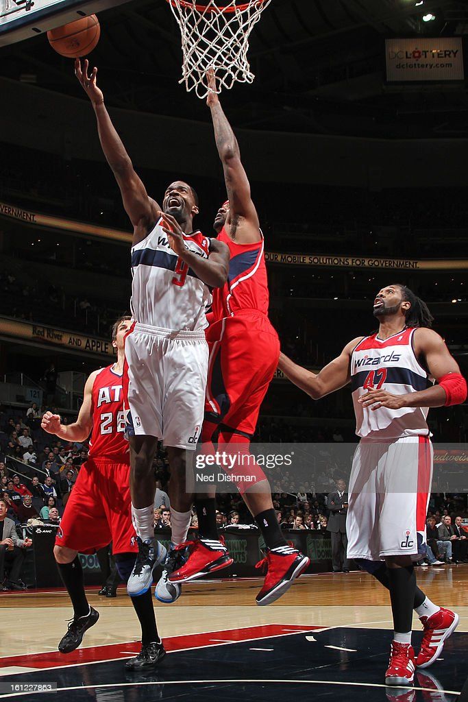 <a gi-track='captionPersonalityLinkClicked' href=/galleries/search?phrase=Martell+Webster&family=editorial&specificpeople=601785 ng-click='$event.stopPropagation()'>Martell Webster</a> #9 of the Washington Wizards goes up for the layup against the Atlanta Hawks during the game at the Verizon Center on January 12, 2013 in Washington, DC.