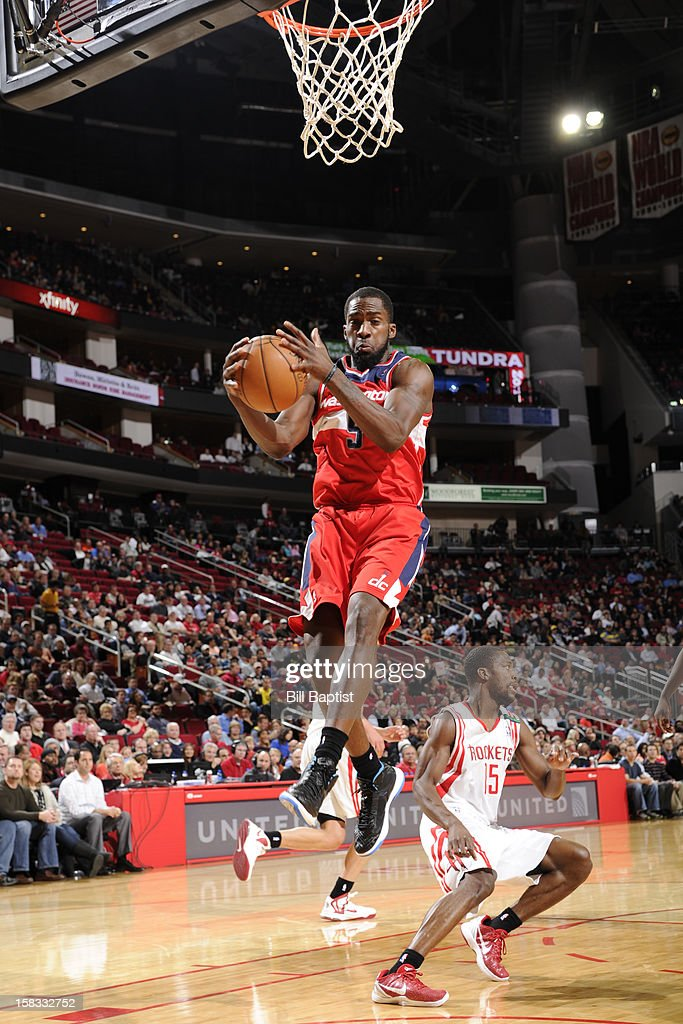 Martell Webster #9 of the Washington Wizards grabs the rebound against the Houston Rockets on December 12, 2012 at the Toyota Center in Houston, Texas.