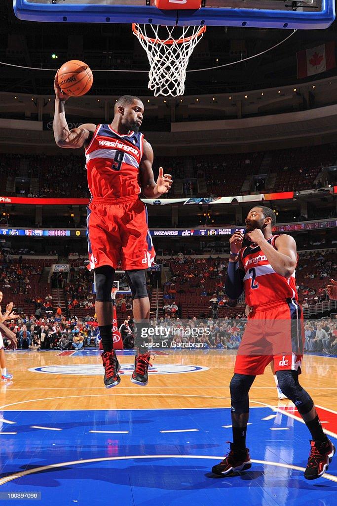 Martell Webster #9 of the Washington Wizards grabs the rebound against the Philadelphia 76ers at the Wells Fargo Center on January 30, 2013 in Philadelphia, Pennsylvania.