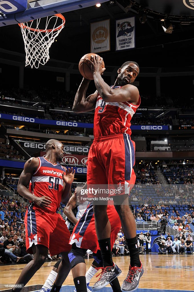 Martell Webster #9 of the Washington Wizards grabs the rebound against the Orlando Magic during the game on March 29, 2013 at Amway Center in Orlando, Florida.