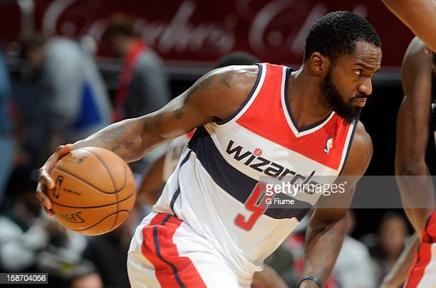 Martell Webster of the Washington Wizards handles the ball against the Detroit Pistons at the Verizon Center on December 22 2012 in Washington DC...