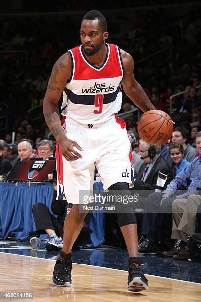 Martell Webster of the Washington Wizards handles the ball against the Houston Rockets at the Verizon Center on March 29 2015 in Washington DC NOTE...
