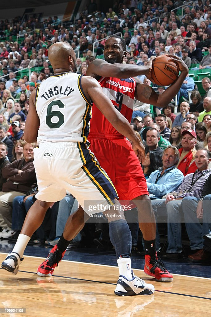 <a gi-track='captionPersonalityLinkClicked' href=/galleries/search?phrase=Martell+Webster&family=editorial&specificpeople=601785 ng-click='$event.stopPropagation()'>Martell Webster</a> #9 of the Washington Wizards prepares to pass against <a gi-track='captionPersonalityLinkClicked' href=/galleries/search?phrase=Jamaal+Tinsley&family=editorial&specificpeople=202203 ng-click='$event.stopPropagation()'>Jamaal Tinsley</a> #6 of the Utah Jazz at Energy Solutions Arena on January 23, 2013 in Salt Lake City, Utah.
