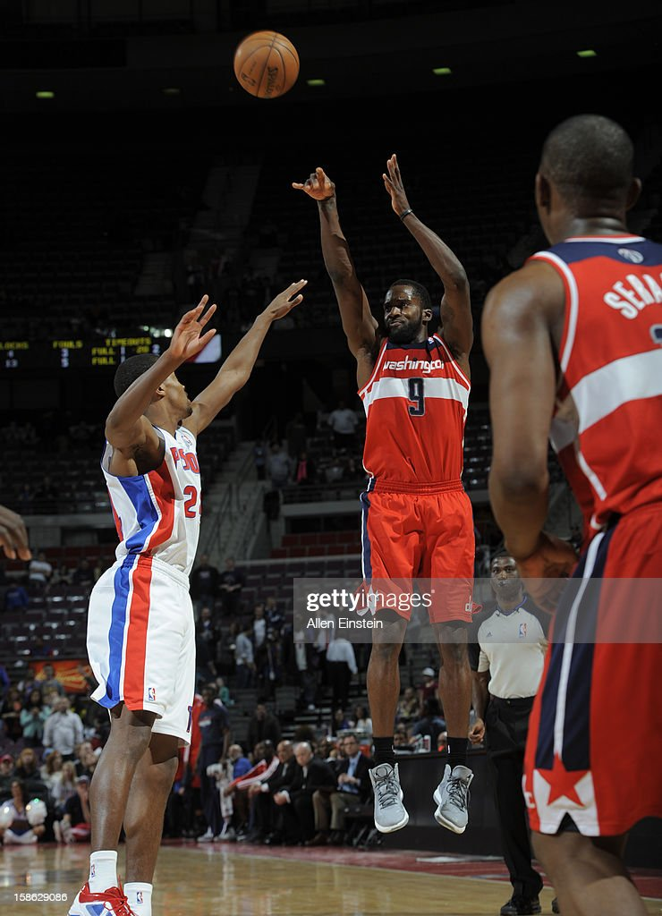 Martell Webster #9 of the Washington Wizards shoots a mid-range shot against the Detroit Pistons during the game on December 21, 2012 at The Palace of Auburn Hills in Auburn Hills, Michigan.
