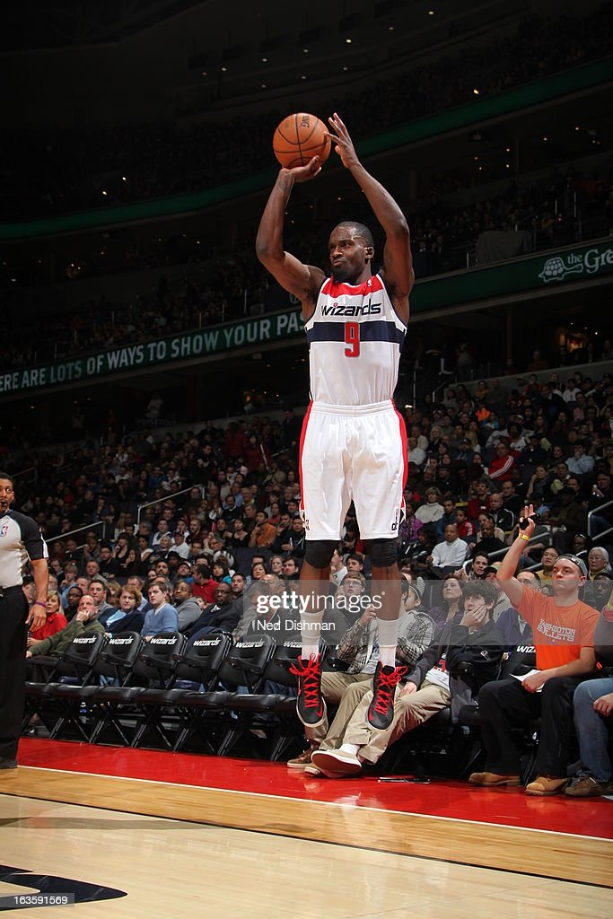 <a gi-track='captionPersonalityLinkClicked' href=/galleries/search?phrase=Martell+Webster&family=editorial&specificpeople=601785 ng-click='$event.stopPropagation()'>Martell Webster</a> #9 of the Washington Wizards shoots a three pointer against the Houston Rockets during the game at the Verizon Center on February 23, 2013 in Washington, DC.