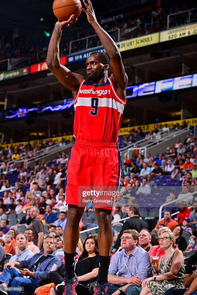 Martell Webster #9 of the Washington Wizards shoots a three-pointer against the Phoenix Suns on March 20, 2013 at U.S. Airways Center in Phoenix, Arizona.
