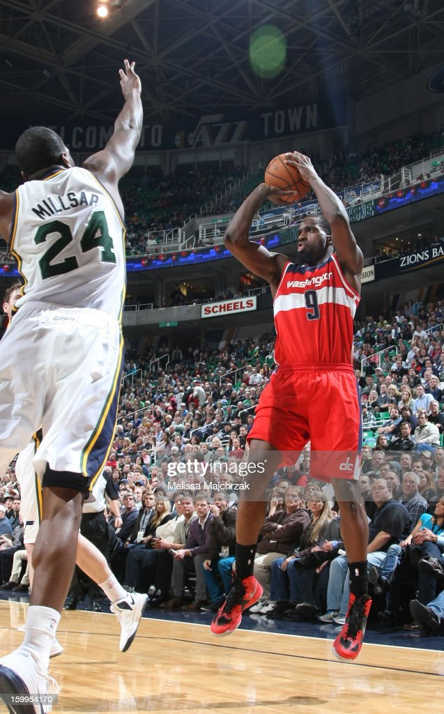 <a gi-track='captionPersonalityLinkClicked' href=/galleries/search?phrase=Martell+Webster&family=editorial&specificpeople=601785 ng-click='$event.stopPropagation()'>Martell Webster</a> #9 of the Washington Wizards shoots against <a gi-track='captionPersonalityLinkClicked' href=/galleries/search?phrase=Paul+Millsap&family=editorial&specificpeople=880017 ng-click='$event.stopPropagation()'>Paul Millsap</a> #24 of the Utah Jazz at Energy Solutions Arena on January 23, 2013 in Salt Lake City, Utah.