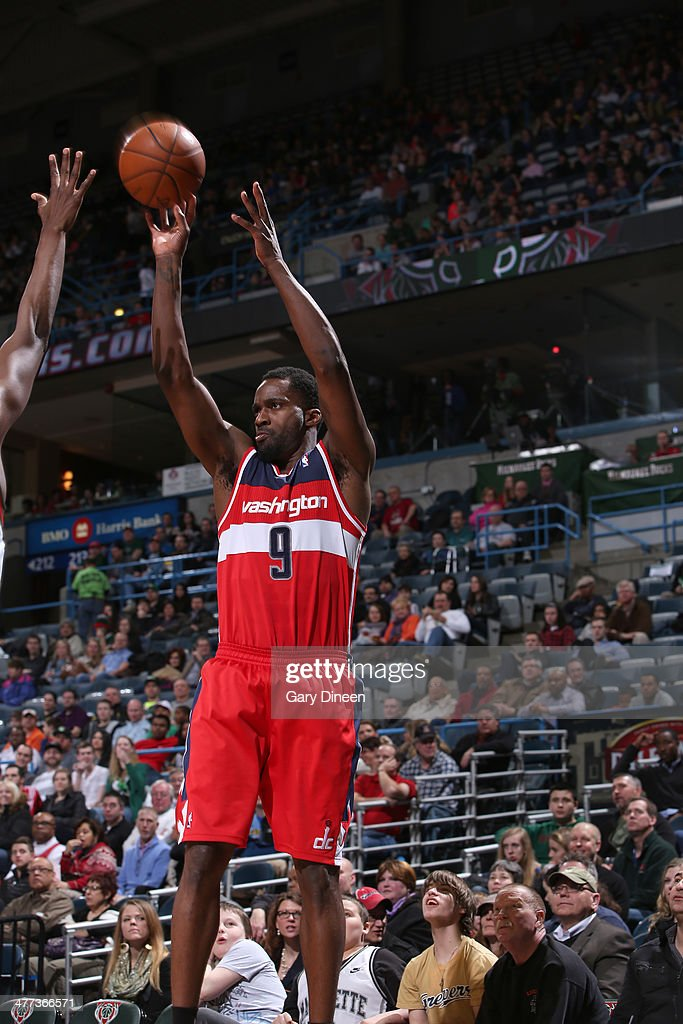Martell Webster #9 of the Washington Wizards shoots against the Milwaukee Bucks on March 8, 2014 at the BMO Harris Bradley Center in Milwaukee, Wisconsin.