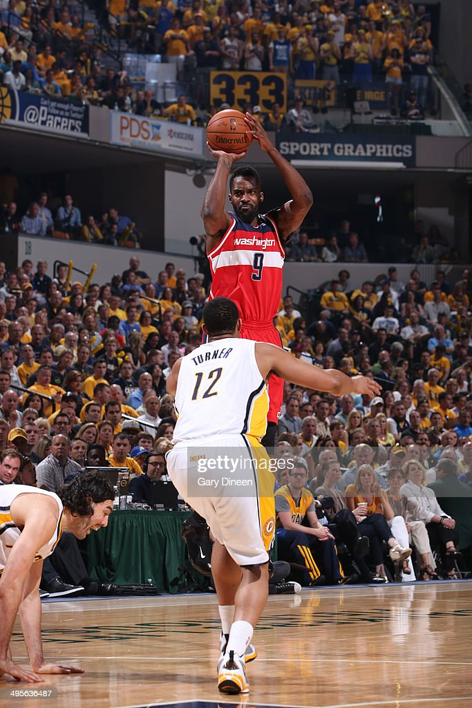 <a gi-track='captionPersonalityLinkClicked' href=/galleries/search?phrase=Martell+Webster&family=editorial&specificpeople=601785 ng-click='$event.stopPropagation()'>Martell Webster</a> #9 of the Washington Wizards shoots against the Indiana Pacers in Game Five of the Eastern Conference Semifinals during the 2014 NBA Playoffs on May 13, 2014 at Bankers Life Fieldhouse in Indianapolis, Indiana.