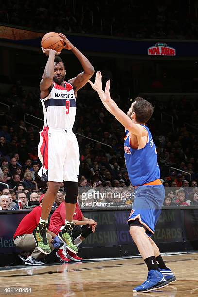Martell Webster of the Washington Wizards shoots against the New York Knicksduring the game on January 7 2015 at Verizon Center in Washington DC...