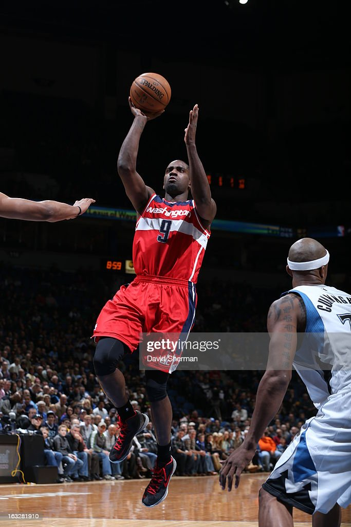 Martell Webster #9 of the Washington Wizards shoots against the Minnesota Timberwolves on March 6, 2013 at Target Center in Minneapolis, Minnesota.