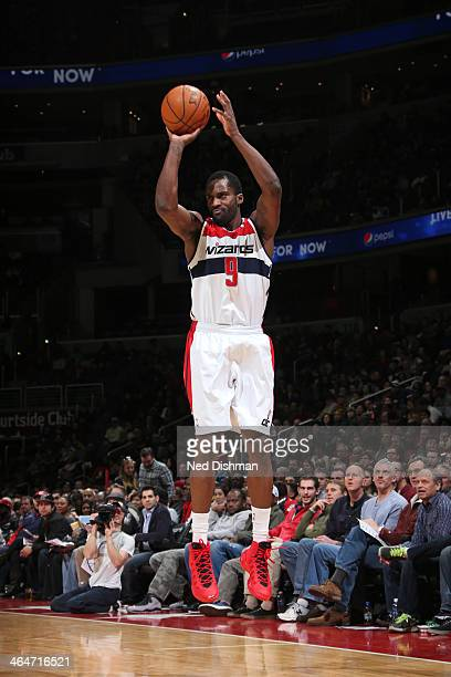 Martell Webster of the Washington Wizards shoots the ball against the Philadelphia 76ers at the Verizon Center on January 20 2014 in Washington DC...