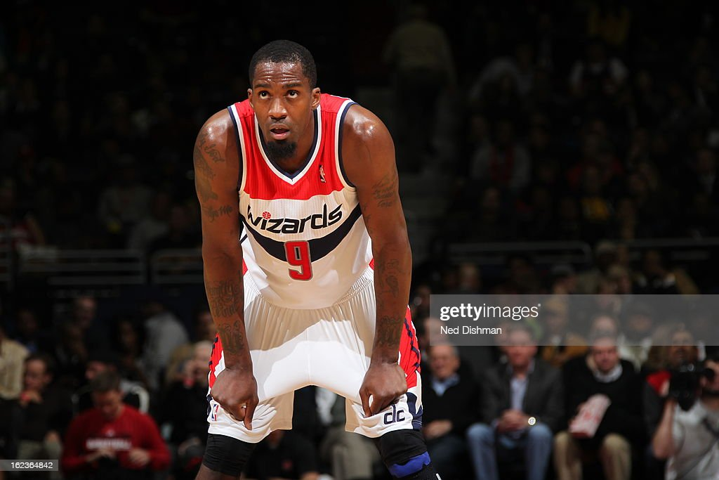 <a gi-track='captionPersonalityLinkClicked' href=/galleries/search?phrase=Martell+Webster&family=editorial&specificpeople=601785 ng-click='$event.stopPropagation()'>Martell Webster</a> #9 of the Washington Wizards stand on the court during the game against the Toronto Raptors at the Verizon Center on February 19, 2013 in Washington, DC.
