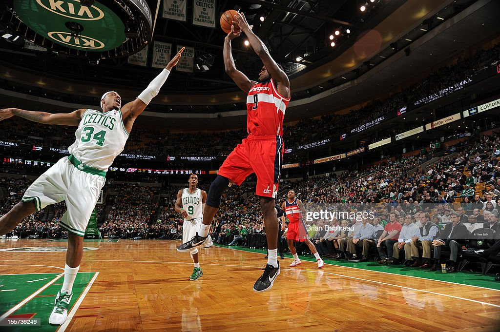 Martell Webster #9 of the Washington Wizards takes a jump shot vs Paul Pierce #34 of the Boston Celtis on November 7, 2012 at the TD Garden in Boston, Massachusetts.