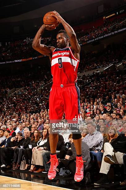 Martell Webster of the Washington WIzards takes a shot against the Portland Trail Blazers on January 24 2015 at the Moda Center Arena in Portland...