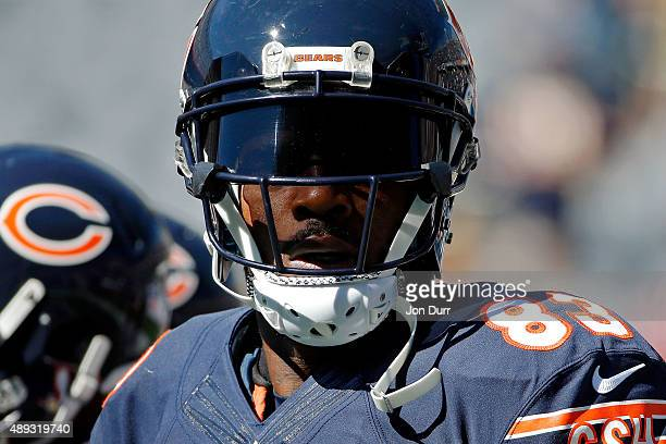 Martellus Bennett of the Chicago Bears before the game against the Arizona Cardinals at Soldier Field on September 20 2015 in Chicago Illinois