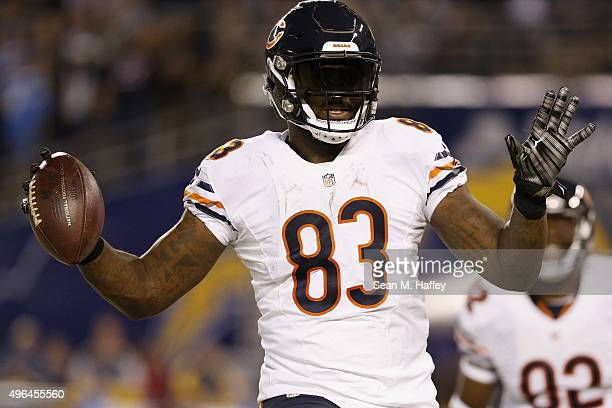 Martellus Bennett of the Chicago Bears celebrates a touchdown against the San Diego Chargers at Qualcomm Stadium on November 9 2015 in San Diego...