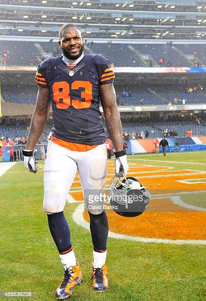 Martellus Bennett of the Chicago Bears leaves the field after the game against the Tampa Bay Buccaneers on November 23 2014 at Soldier Field in...